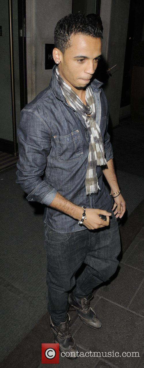 Aston Merrygold of boyband JLS leaving the Mayfair...