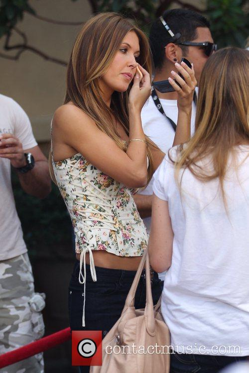 Audrina Patridge fixing her make-up at The Grove...