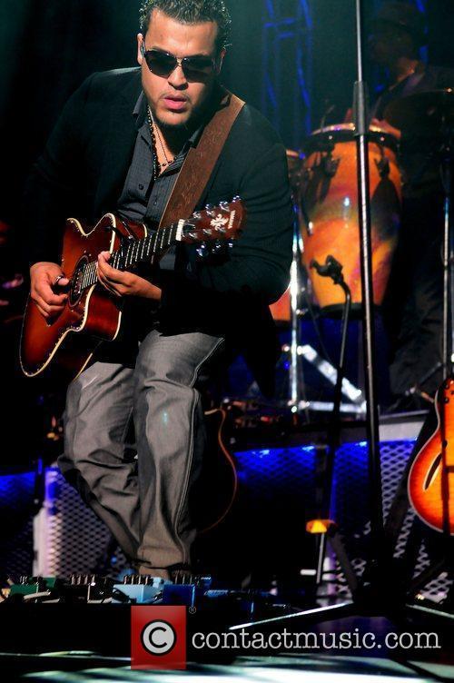 Lenny Santos of the Bachata group Aventura performing...