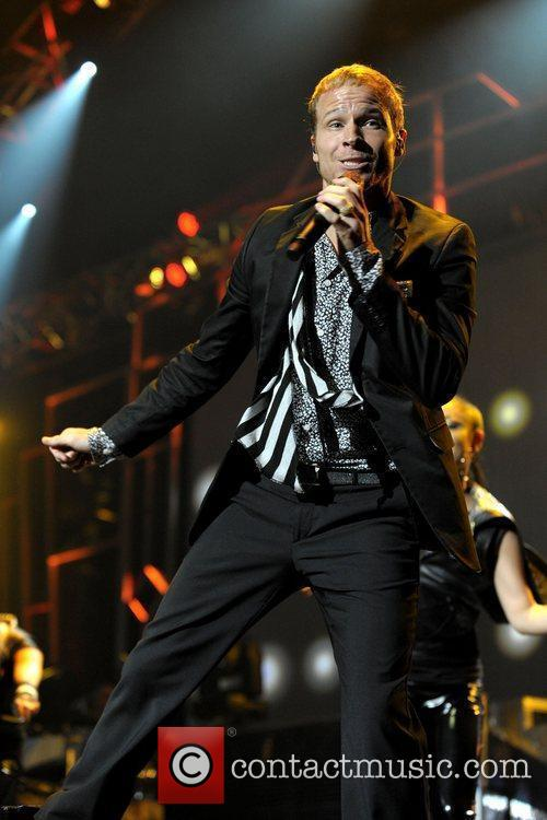 Brian Littrell of Backstreet Boys, performing on stage...