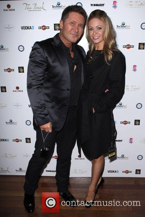 Mercedes Gage and Peter Nicholas  celebrate the...