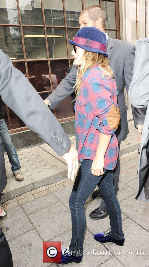 Drew Barrymore is seen arriving at BBC Radio...