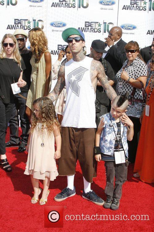 Travis Baker and kids 2010 BET Awards held...
