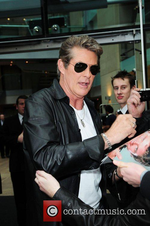 David Hasselhoff leaving his hotel to head to...