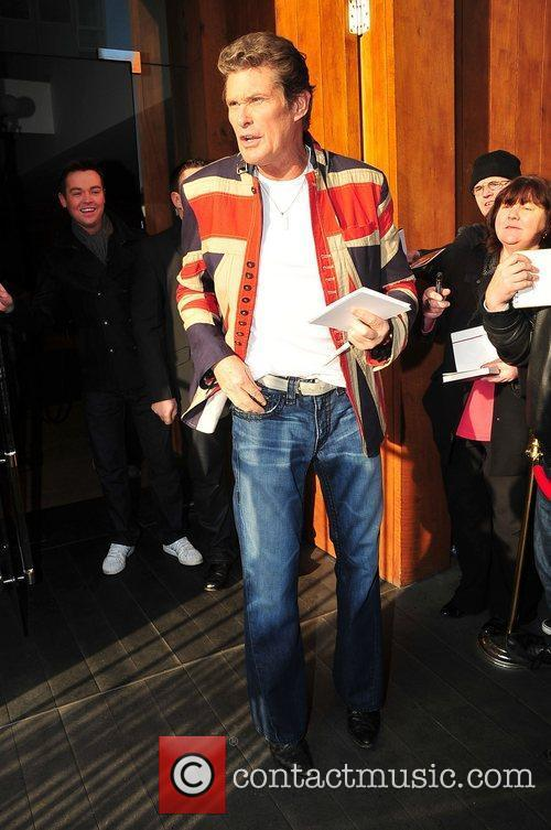 David Hasselhoff leaving his hotel ahead of the...