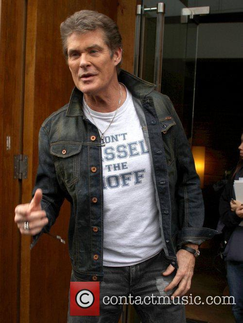 David Hasselhoff leaves his hotel to head to...