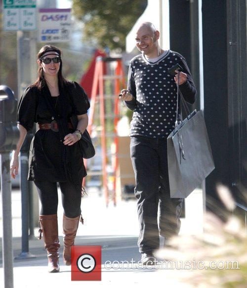 Smashing Pumpkins frontman Billy Corgan after shopping at...