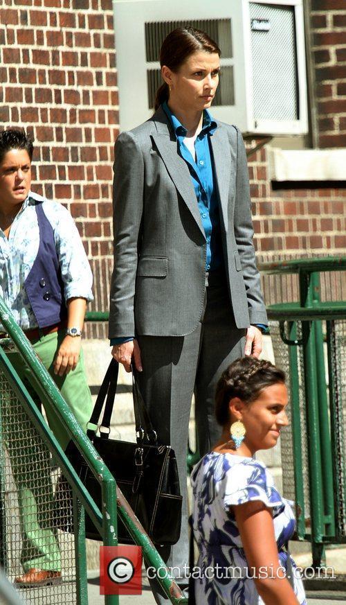 Bridget Moynahan on the set of 'Blue Bloods'...