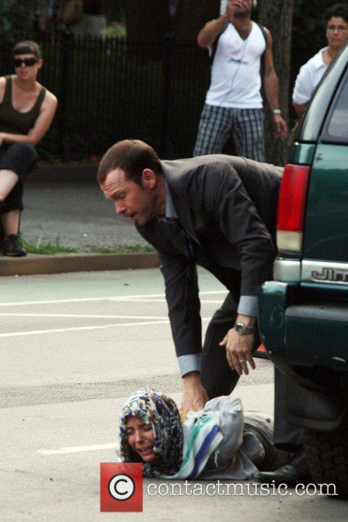 Donnie Wahlberg on the set of 'Blue Bloods'...