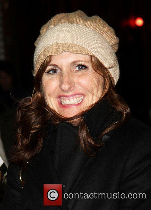 Molly Shannon signing autographs outside the Broadway Theatre...