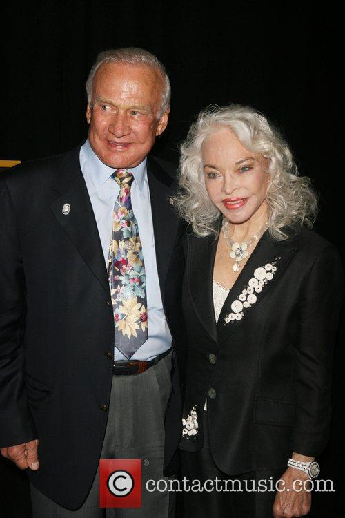 Buzz Aldrin, Lois Driggs Cannon attending a special...