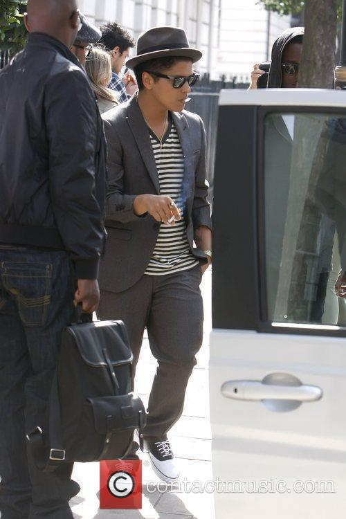 Bruno Mars leaving his London hotel London, England