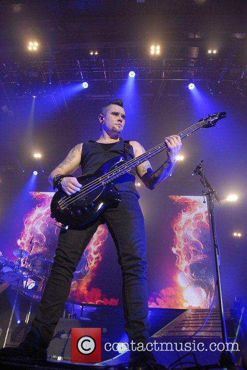 Jason James of Bullet For My Valentine performing...