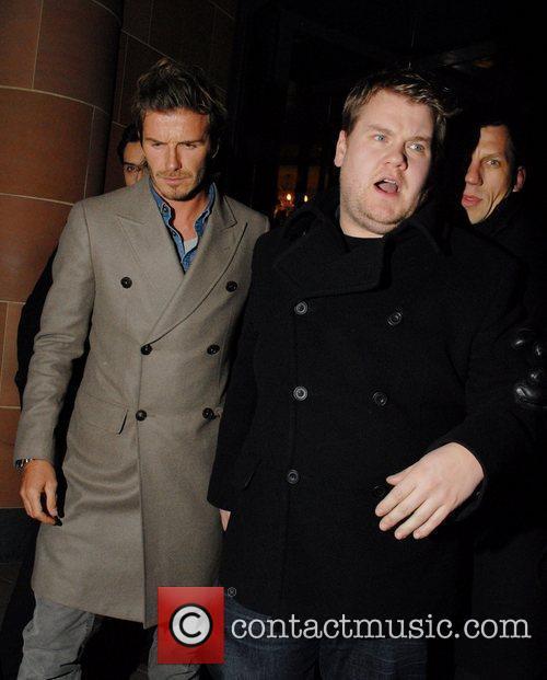 David Beckham and James Corden celebrities leaving C...