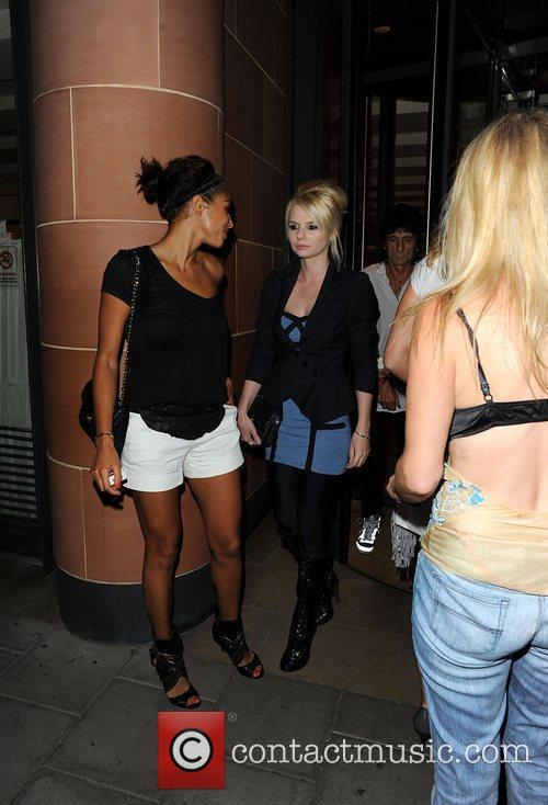 Ronnie Wood, friend Melissa Hammond, aka Fifi La Bomb, girlfriend Ana Araujo leave C London restaurant