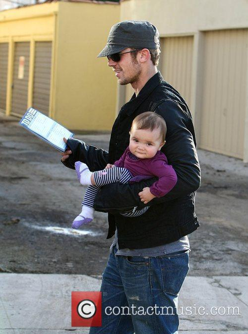 Cam Gigandet with his daughter Everleigh Rae Gigandet...