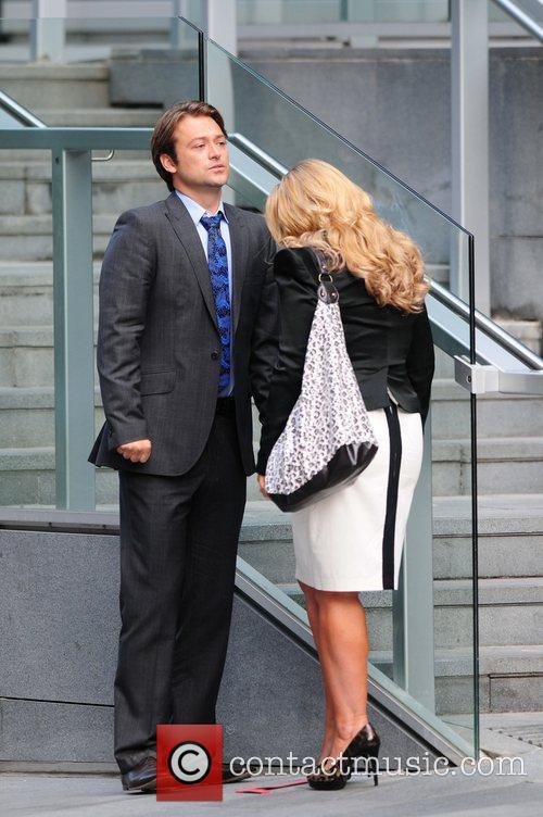 Paul Nichols and Jo Joyner filming a scene...