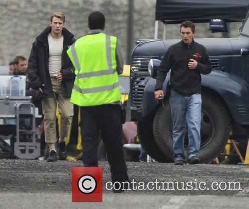 Chris Evans arrives on the film set of...