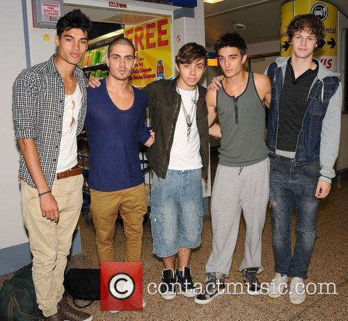 The Wanted seen arriving at Glasgow International Airport...