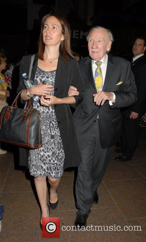 Leslie Phillips Celebrities leaving The Empire in Leicester...