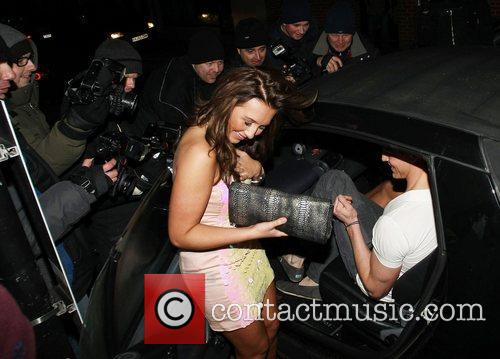 Lauren Goodger leaving Chinawhite nightclub with a friend....