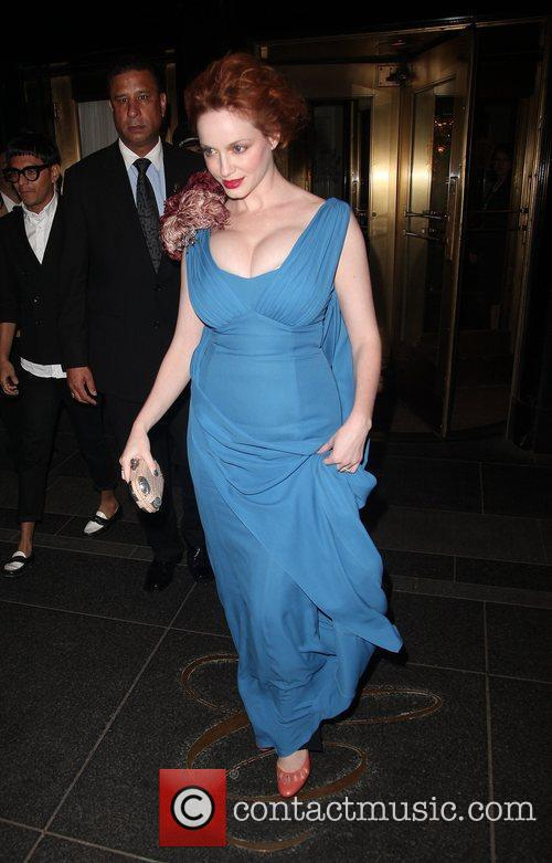 Christine Hendricks leaves The Carlyle Hotel to attend...