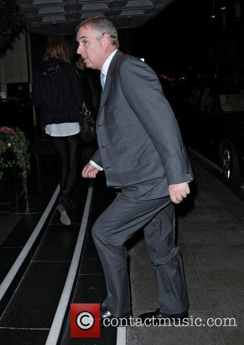 Prince Andrew leaving the Dorchester Hotel London, England