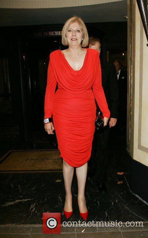 Theresa May leaving the Dorchester Hotel London, England