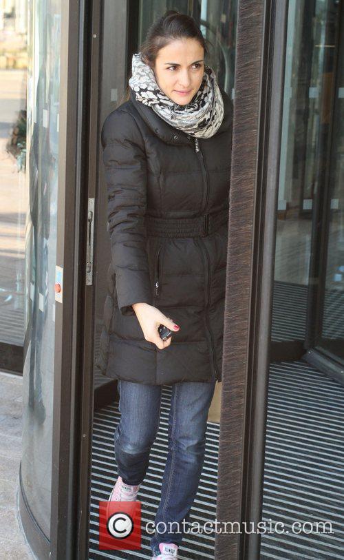 Chris Evans's wife Natasha Shishmanian leaving the Hilton...