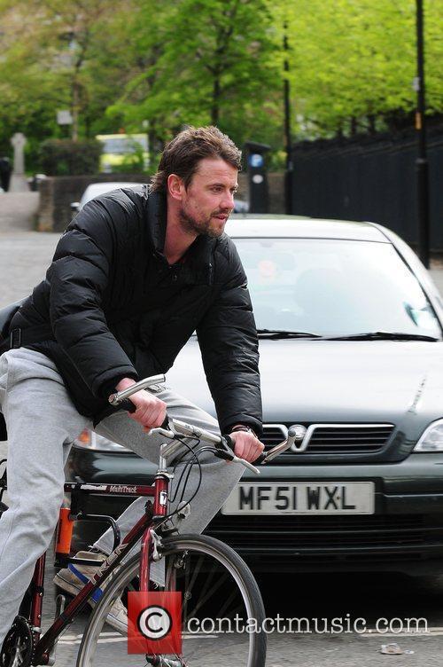Steve Jackson cycling Coronation Street stars arriving at...