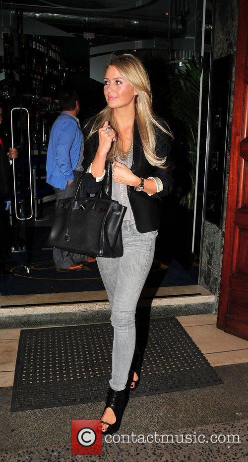 Alex Curran leaves San Carlo Restaurant in Liverpool
