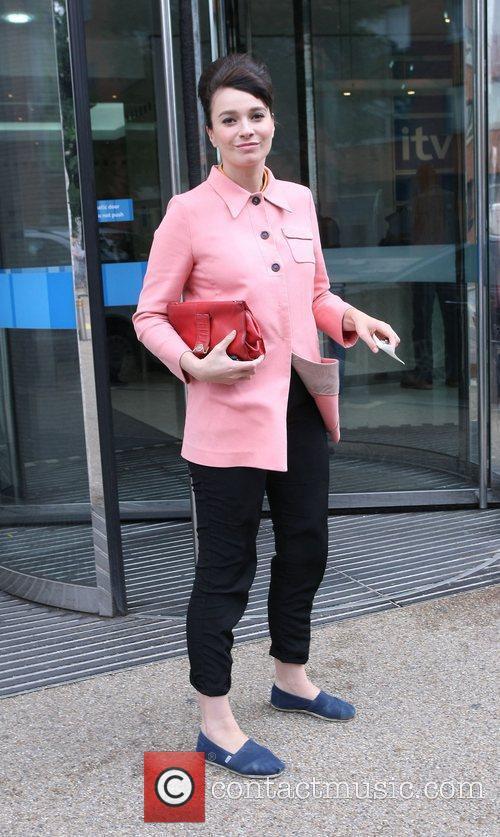 Gizzi Erskine outside the ITV studios London, England