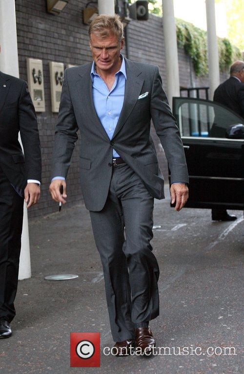 Dolph Lundgren leaves the ITV studios after appearing...