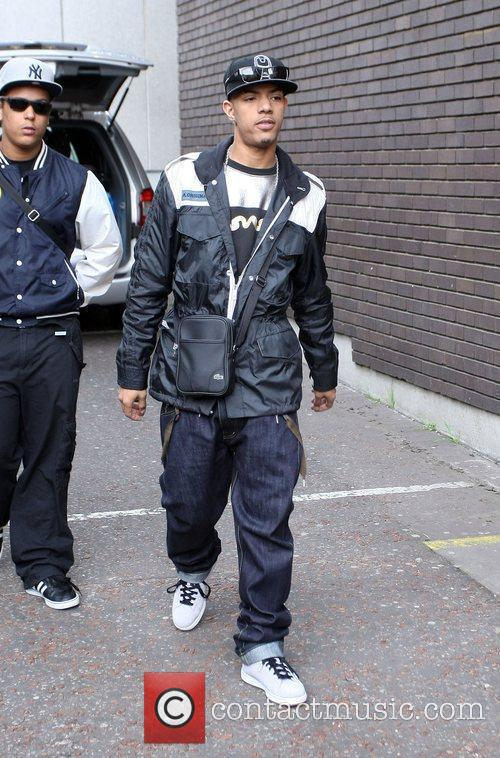 Fazer N-Dubz leave the ITV studios after appearing...