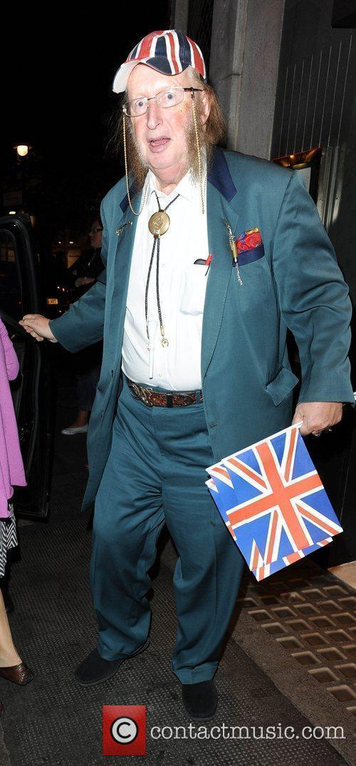 John McCririck leaving the Ivy restaurant London, England