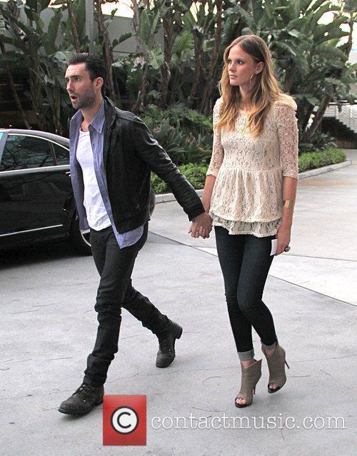 Adam Levine Celebrities arrive at the Staples Center...