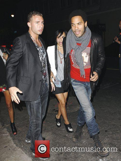 Lenny Kravitz arriving with girlfriend Celebrities outside Las...