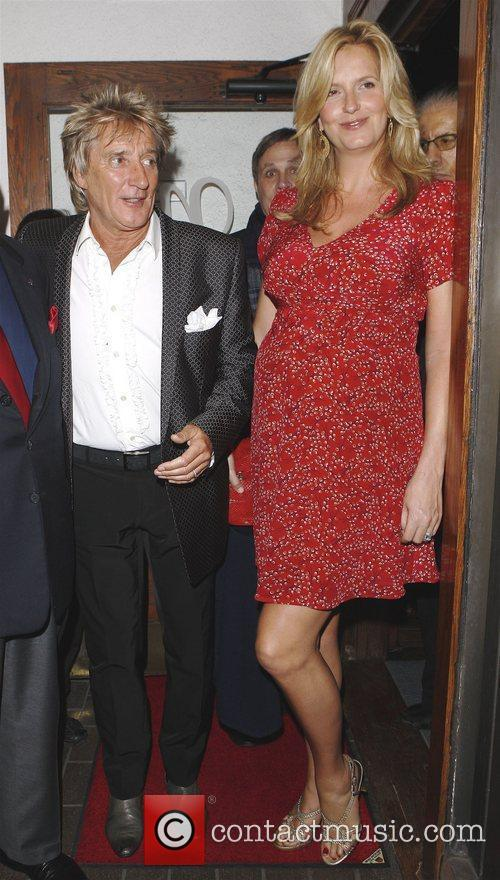 Rod Stewart and Penny Lancaster outside Madeos restaurant...