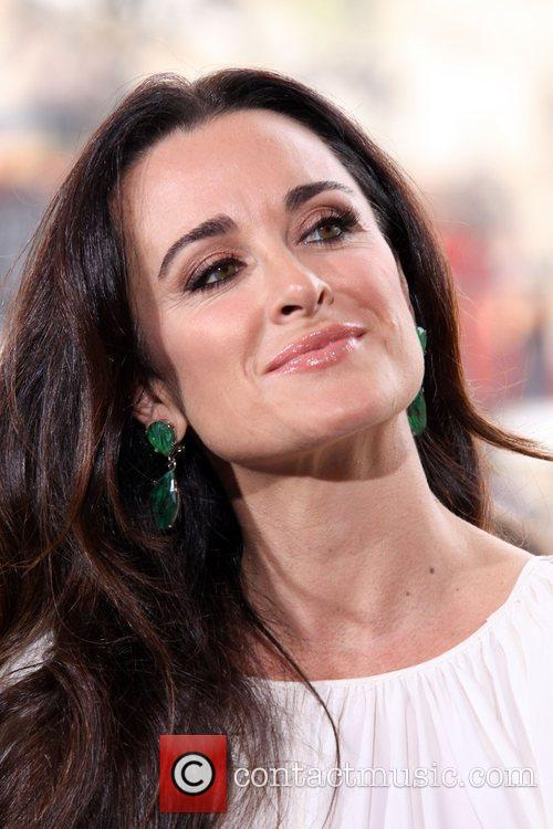 Kyle Richards  filming an interview for the...