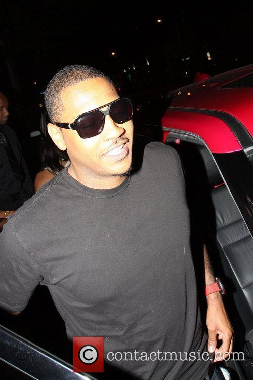Carmelo Anthony seen outside Madeo's restaurant in West...