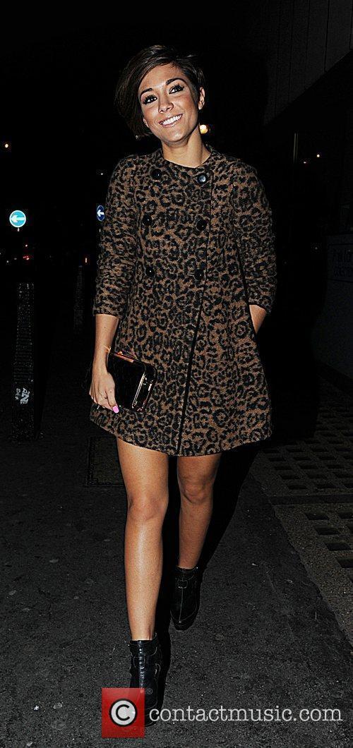 Frankie Sandford arriving at Whisky Mist in Mayfair...