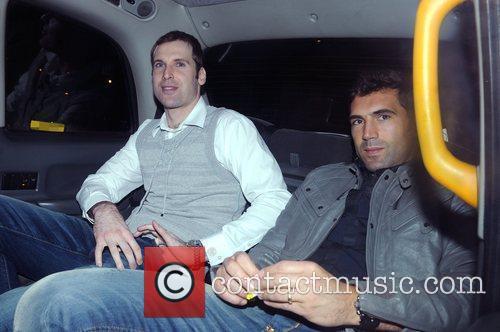 Petr Cech and Henrique Hilario leaving Whisky Mist...