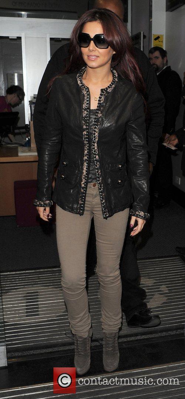 Cheryl Cole leaving BBC Radio One studios.