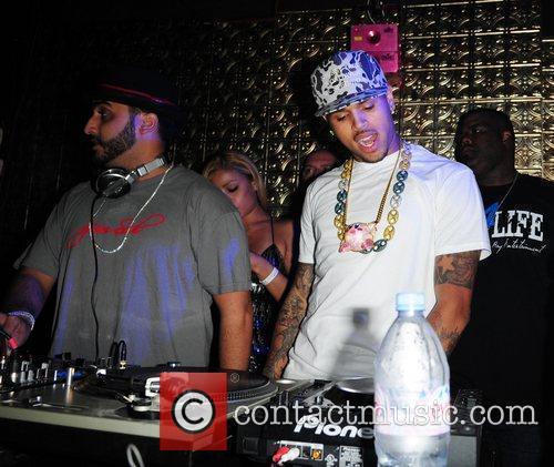 DJ Affect and Chris Brown on decks...