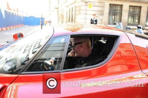 Leaving the Radio Two studios in his Ferrari...