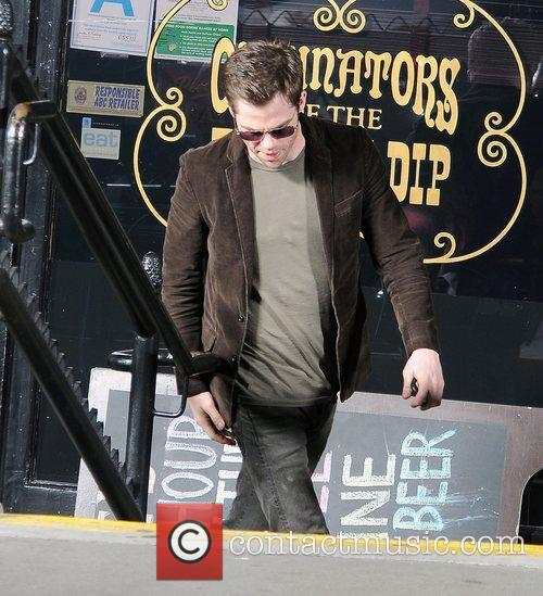 Chris Pine during filming of drama 'Welcome to...