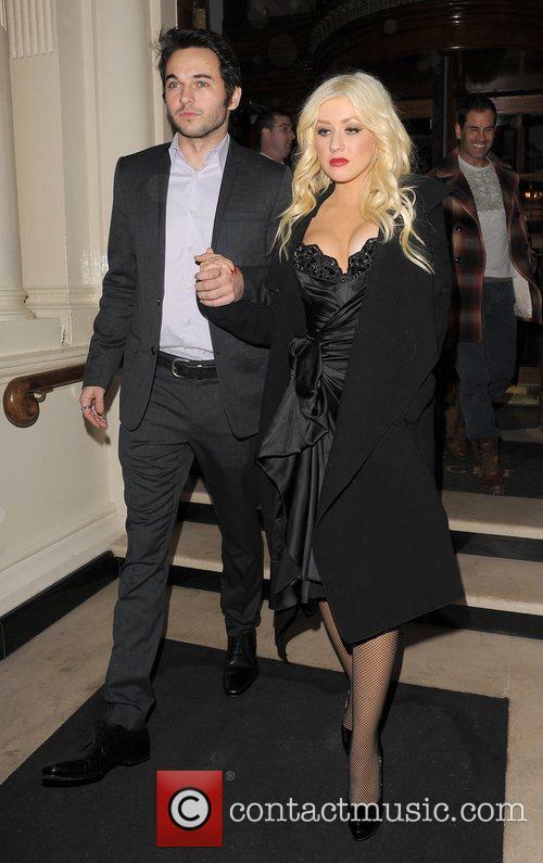 Christina Aguilera and her boyfriend Matt Rutler leaving...