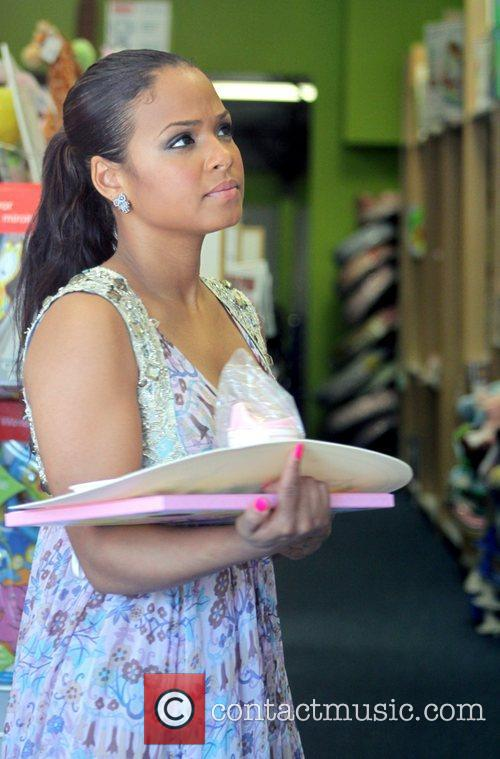 Christina Milian out shopping for baby clothes Los...