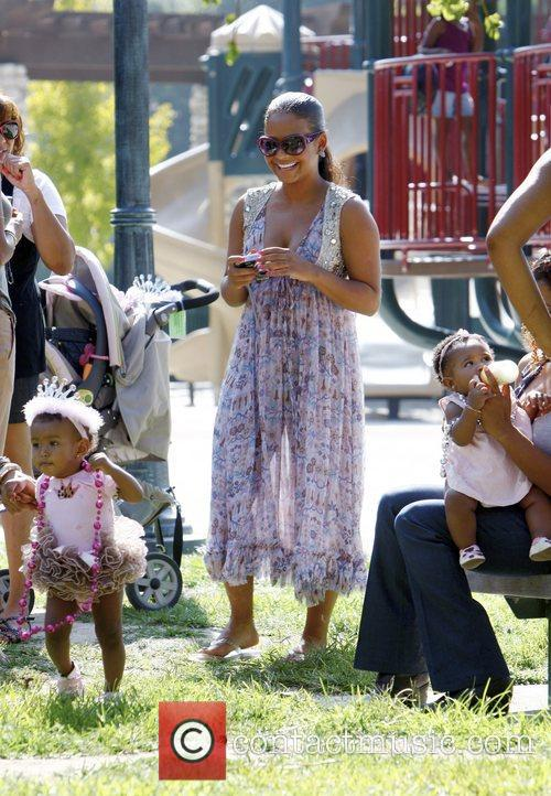 R&B singer Christina Milian with daughter Violet at...