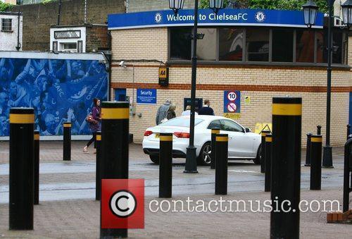 Christine Bleakley arrives at Stamford Bridge, the home...